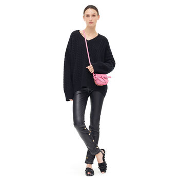LOEWE Cable Knit V Neck Sweater Black front