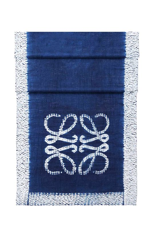 LOEWE 70X200 Scarf Anagram Tie & Dye Indigo front