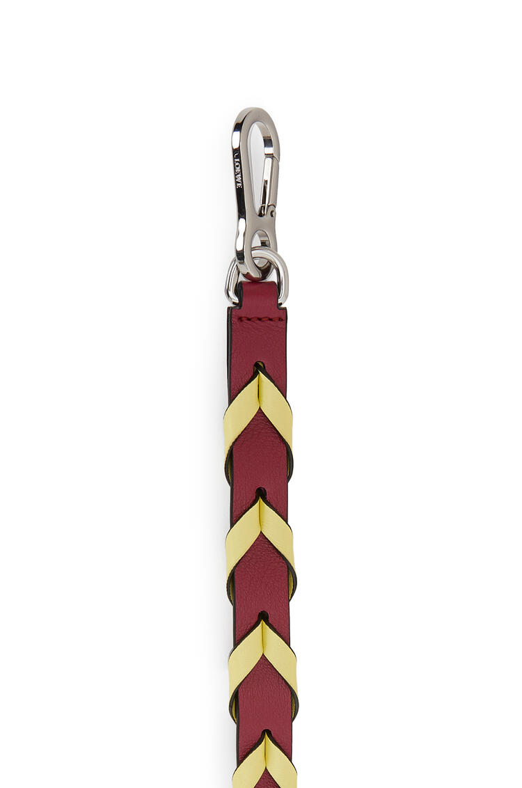 LOEWE Thin Braided strap in classic calfskin Raspberry/Yellow pdp_rd