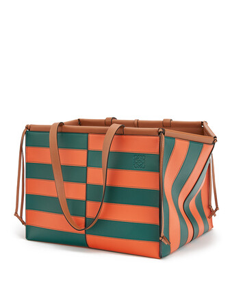 LOEWE Cushion Tote Rugby Large Orange/Green front