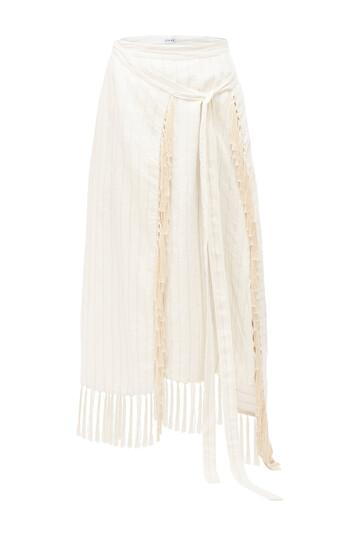 LOEWE Paula Stripe Wrap Skirt Fringe White Ash front
