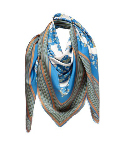 LOEWE 140X140 Scarf Paisley Anagram Petroleum Blue front