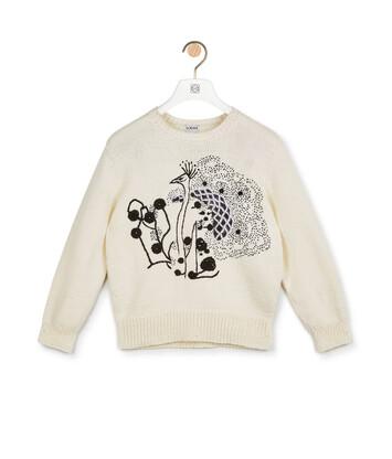 LOEWE Crochet Flower Sweater Blanco/Negro front
