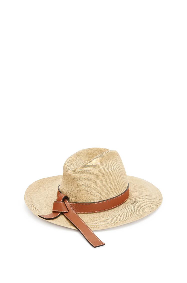 LOEWE Panama hat in straw and calfskin Natural/Tan pdp_rd