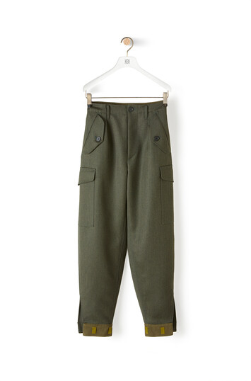 LOEWE Cargo Trousers Khaki Green front