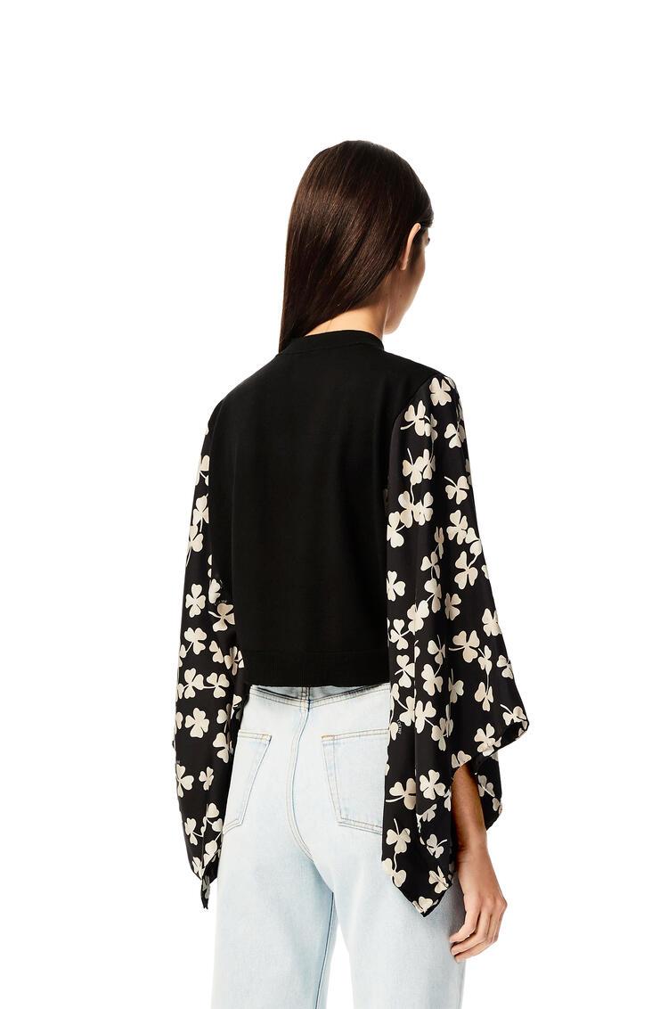 LOEWE Shamrock print sleeve cardigan in wool Black pdp_rd