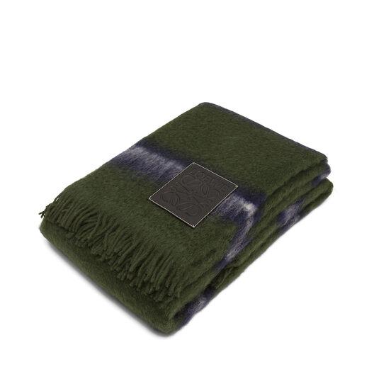 LOEWE 180X220 ストライプ ブランケット Green Multitone/Black all