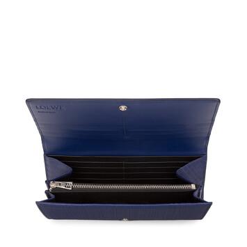 LOEWE Linen Continental Wallet Navy Blue front