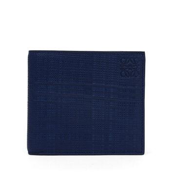 LOEWE Linen Bifold Wallet Navy Blue front