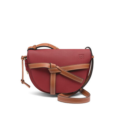 LOEWE Gate Small Bag Brick Red/Pecan Color front