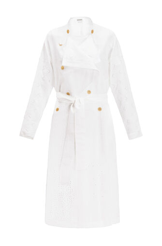 LOEWE Coat Broderie Anglaise 白色 front