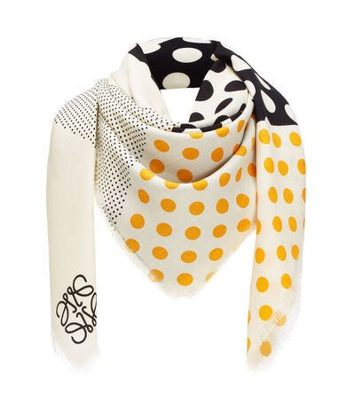 LOEWE 140X140 Scarf Patchwork Dots 黑色/橘色 front
