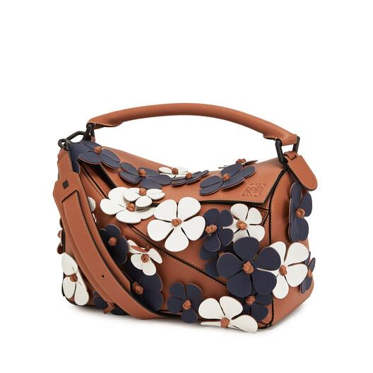 LOEWE Puzzle Flowers Bag Tan/Blue front