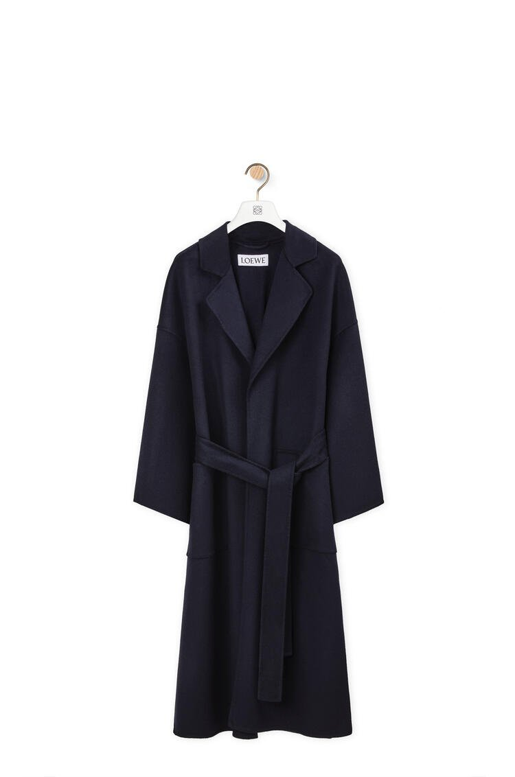 LOEWE Oversize belted coat in wool and cashmere Navy Blue pdp_rd