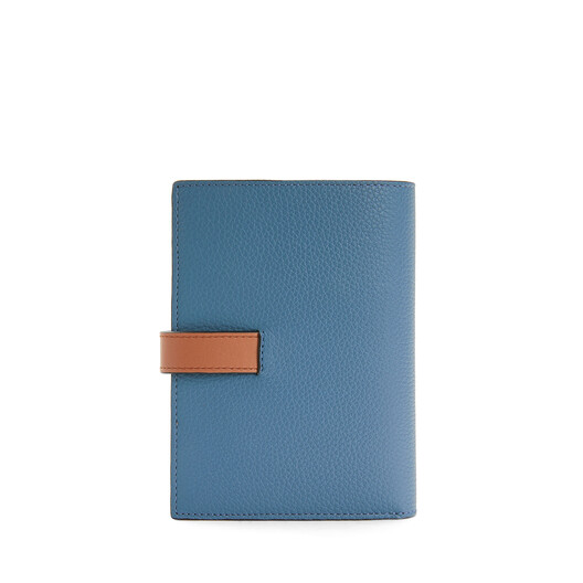 LOEWE Medium Vertical Wallet Steel Blue/Tan front