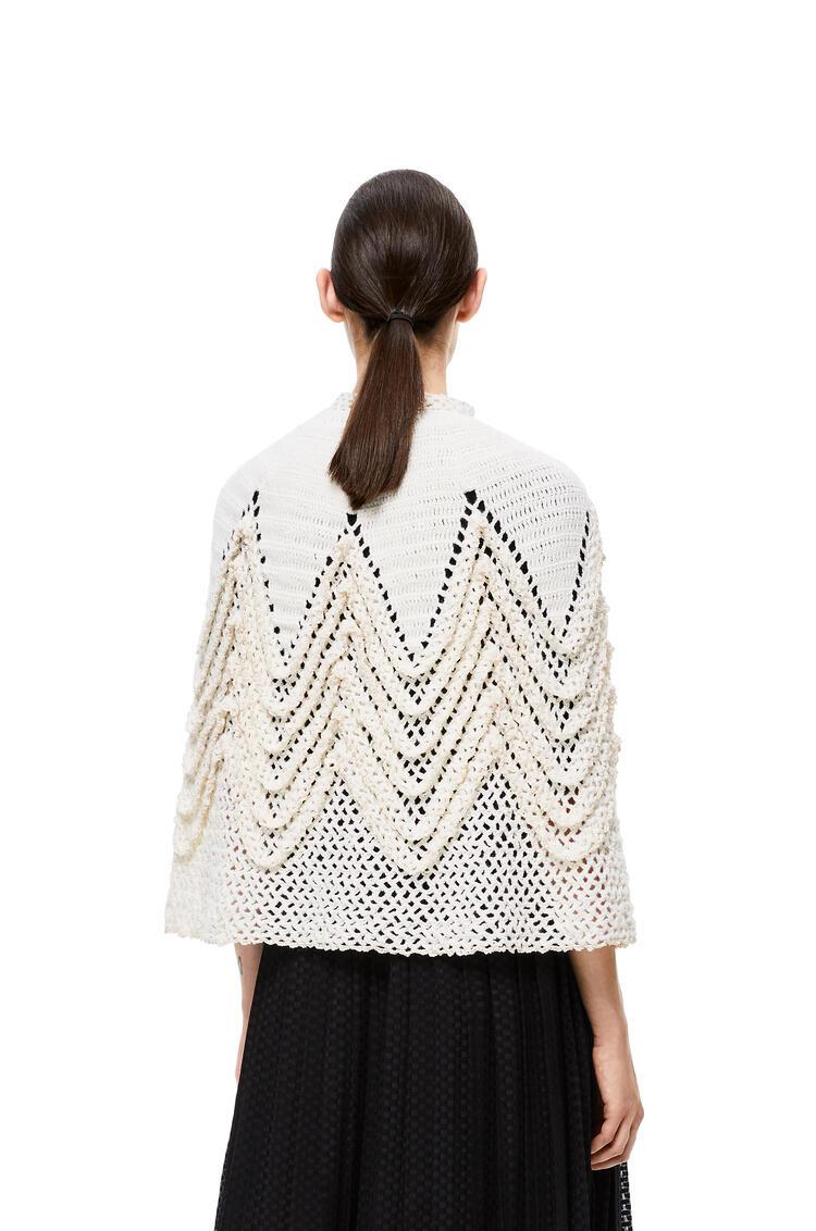 LOEWE Knit crochet cape in wool White pdp_rd
