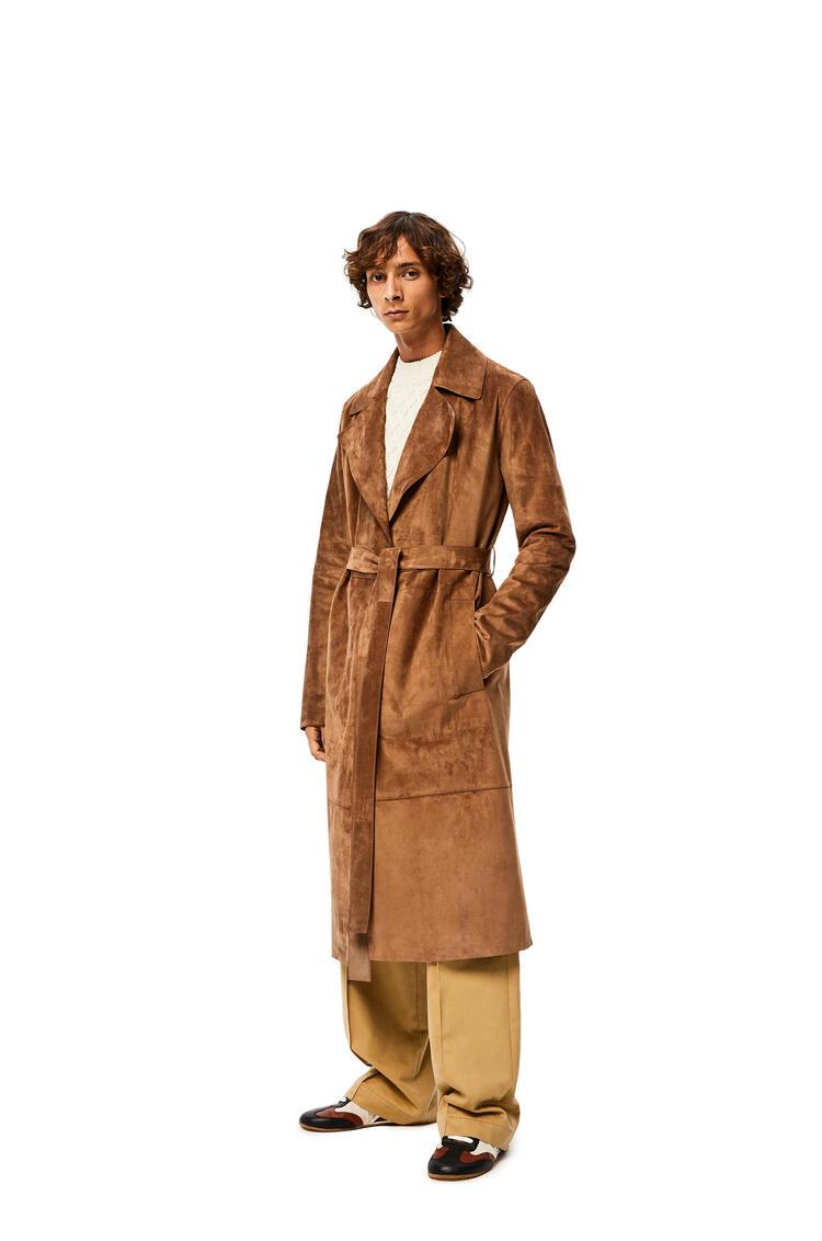 LOEWE Belted coat in suede 石灰色 pdp_rd