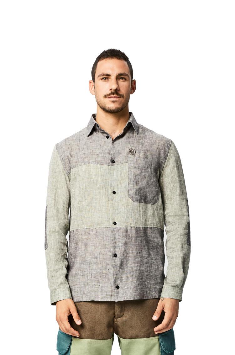 LOEWE Camisa En Lino Con Bolsillo De Parche Gris pdp_rd