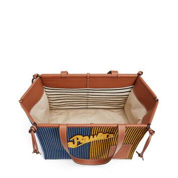 LOEWE Paula's Cushion Tote Stripes Blue/Yellow front