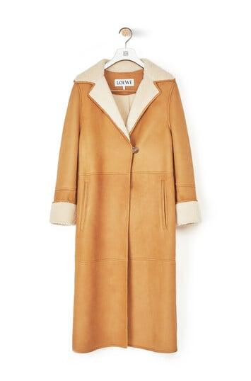 LOEWE Shearling Coat Oro/Blanco front