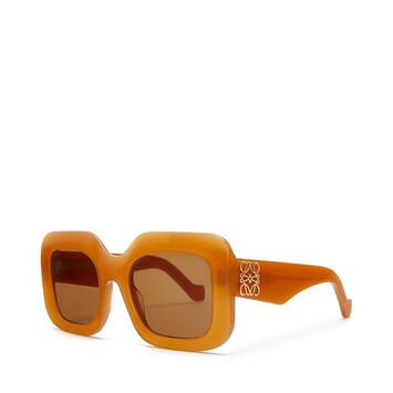 LOEWE Acetate Rectangular Sunglasses 杏色 front
