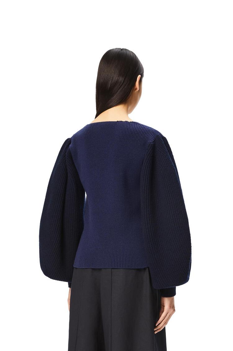 LOEWE Balloon sleeve V-neck sweater in wool Blue Tartan pdp_rd