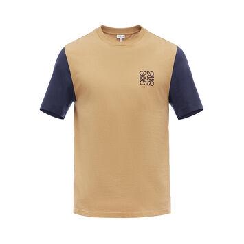 LOEWE Anagram T-Shirt Beige/Navy Blue front