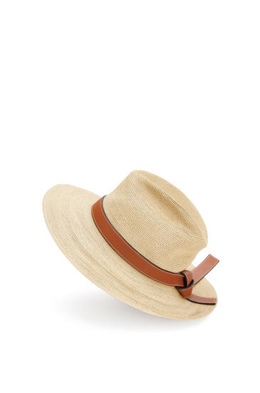 LOEWE 稻草和小牛皮巴拿马草帽 原色/棕褐色 pdp_rd