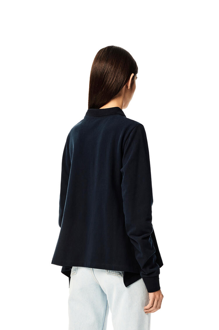 LOEWE Anagram embroidered polo top in cotton Navy Blue pdp_rd
