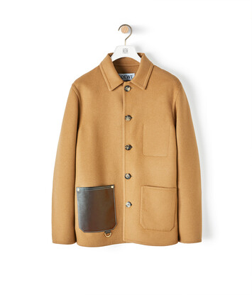 LOEWE Button Jacket Patch Pockets Camel front