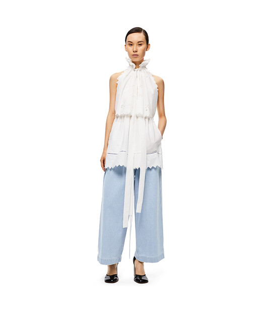LOEWE Halterneck Top Broderie Anglai White front