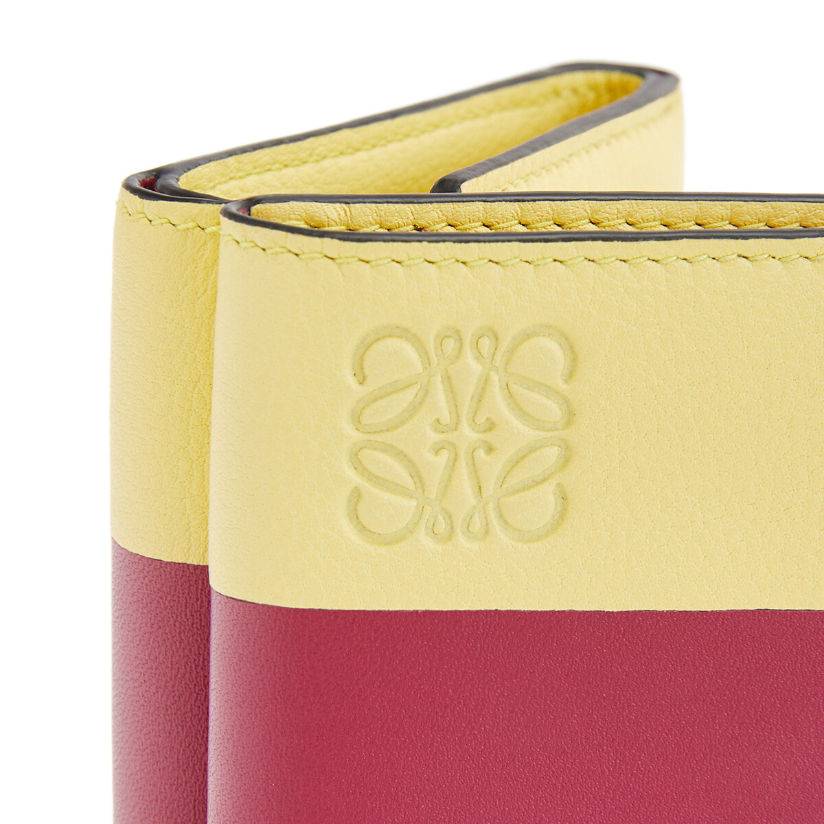 LOEWE Billetero Triple Color Block Frambuesa/Amarillo front