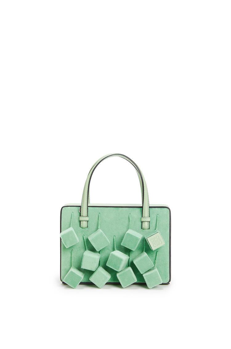 LOEWE Small Postal Cubes bag in velvet and calfskin 綠色 pdp_rd