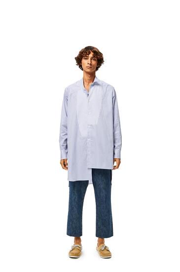 LOEWE Camisa Larga Asimétrica En Algodón De Rayas Blanco/Azul pdp_rd