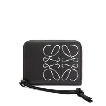 LOEWE Brand 6 Card Zip Wallet Black/Kaolin front