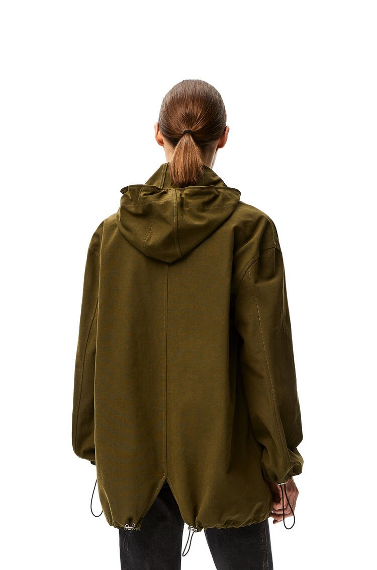 LOEWE Hooded short parka in cotton Military Green pdp_rd