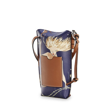 LOEWE Gate Pocket In Mermaid Classic Calfskin Burgundy/Marine front