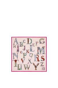 LOEWE Bufanda de 90 x 90 cm en seda con letras Rosa pdp_rd