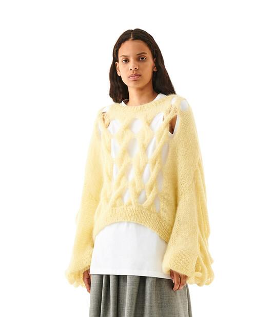 LOEWE Knit Mesh Sweater Vainilla front