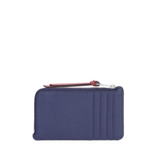 LOEWE Tarjetero Con Monedero Grande Azul Marino/Rojo Teja front