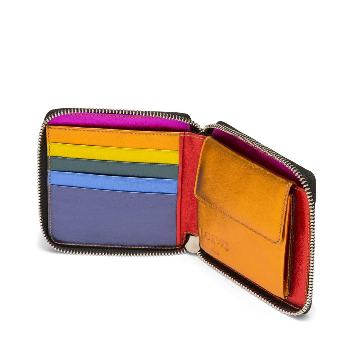 LOEWE Rainbow Square Zip Wallet Metallic Multicolor front