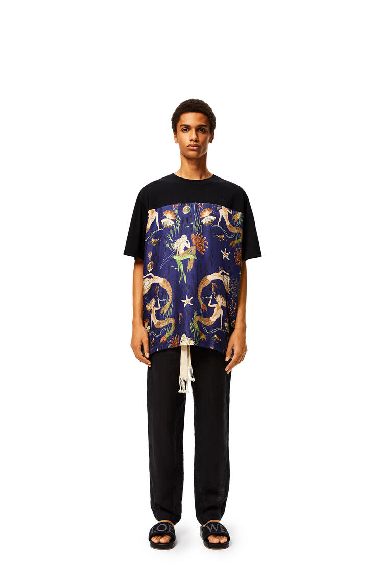 LOEWE Oversize T-shirt in mermaid cotton and silk Black/Blue pdp_rd
