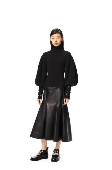 LOEWE Mesh cuff sweater in wool and alpaca Black pdp_rd