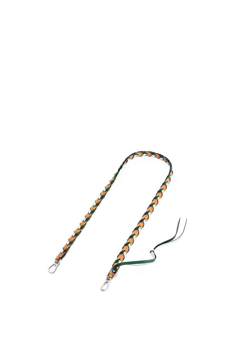 LOEWE Thin Braided strap in classic calfskin Amber/Mint pdp_rd
