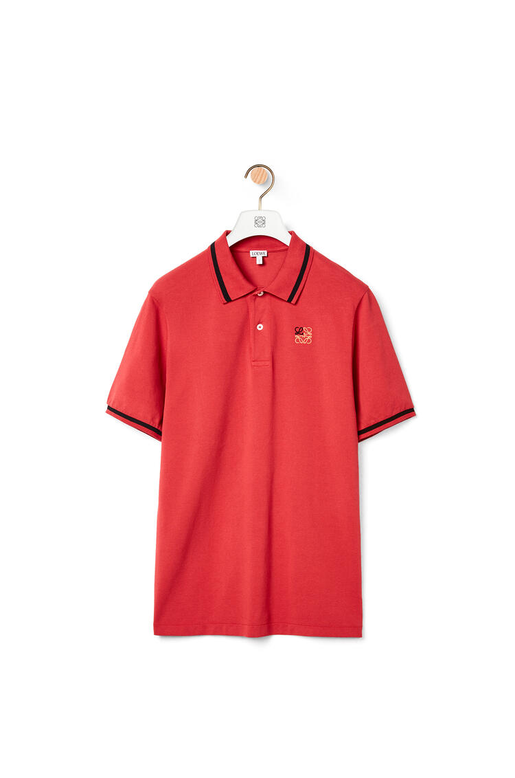 LOEWE Anagram embroidered polo in cotton Red pdp_rd