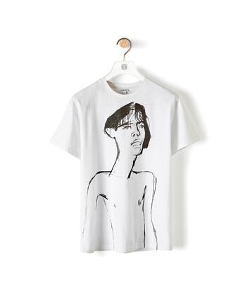 LOEWE Portrait Print T-Shirt Blanco front
