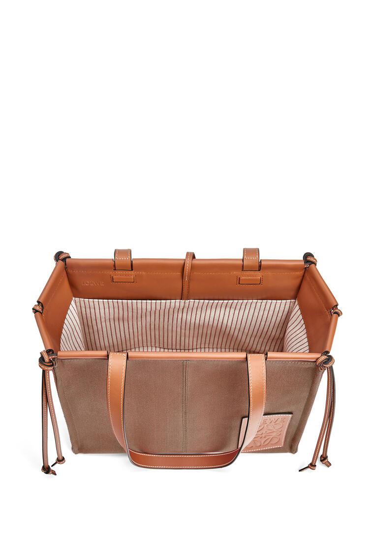 LOEWE Cushion Tote bag in canvas and calfskin Taupe pdp_rd