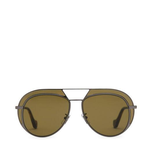 LOEWE Gafas Metal Redondas Negro/Verde Kaki front