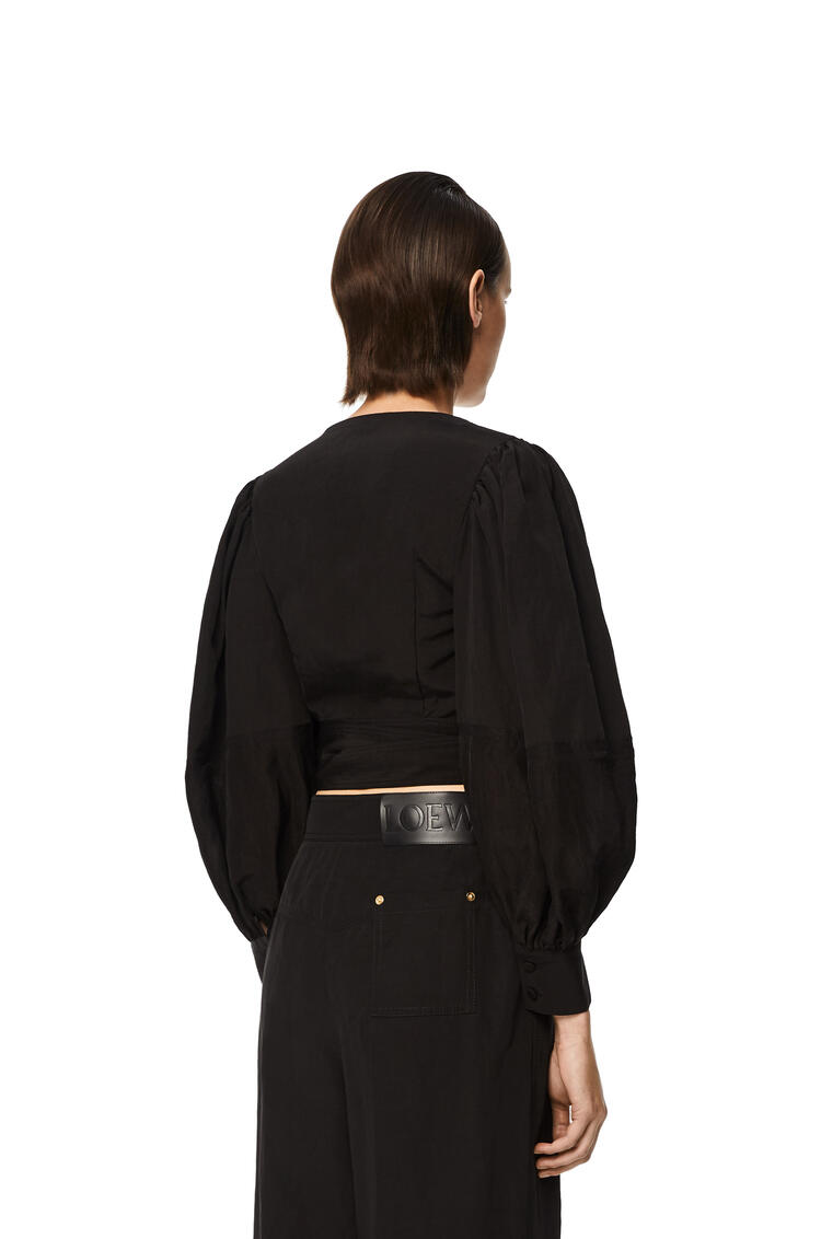 LOEWE Balloon sleeve wrap top in linen Black pdp_rd