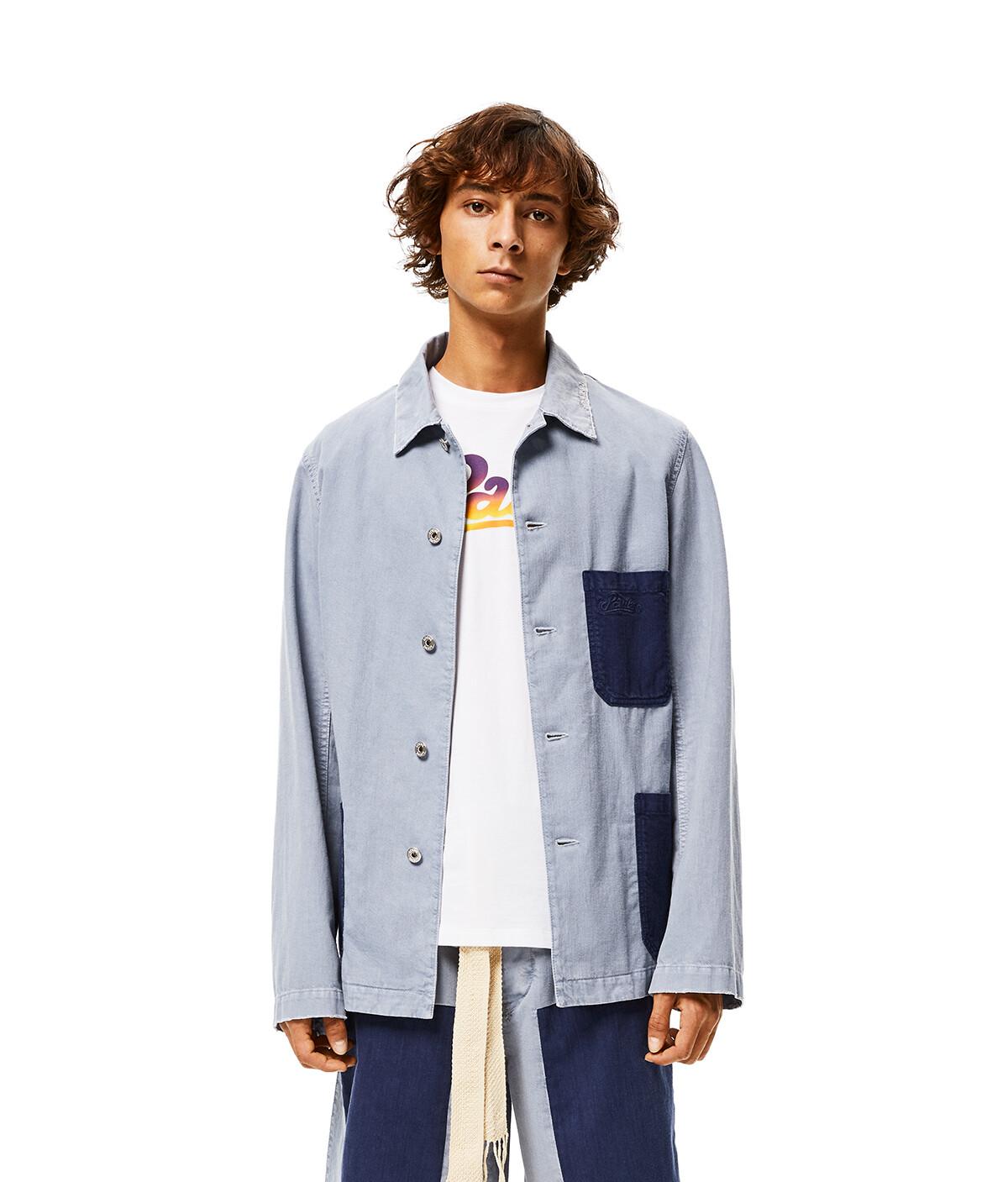 LOEWE Contrast Patch Workwear Jacket In Cotton Indigo/Light Blue front